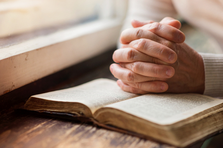 worship white: Unrecognizable woman holding a bible in her hands and praying
