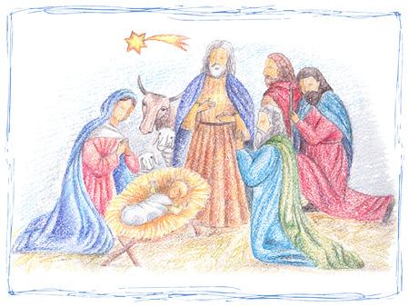 reyes magos: Mano ilustración vectorial dibujado con escena de la natividad. Niño Jesús nacido en Belén.