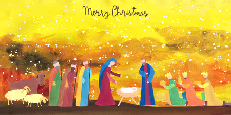 shepherds: Hand drawn vector illustration with nativity scene. Baby jesus born in Bethlehem.