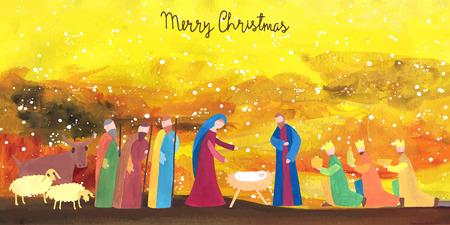 Mano ilustración vectorial dibujado con escena de la natividad. Niño Jesús nacido en Belén. Foto de archivo - 47410104
