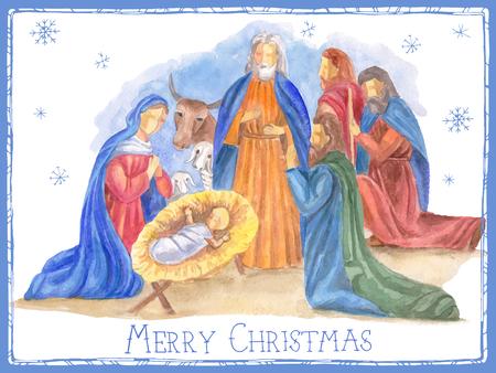 nacimiento: Mano ilustración vectorial dibujado con escena de la natividad. Niño Jesús nacido en Belén.