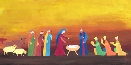 scenes: Hand drawn vector illustration with nativity scene. Baby jesus born in Bethlehem.