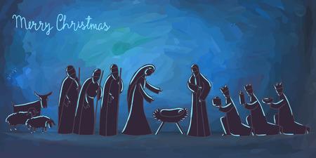 nascita di gesu: Illustrazione vettoriale con presepe. Gesù Bambino nato a Betlemme.