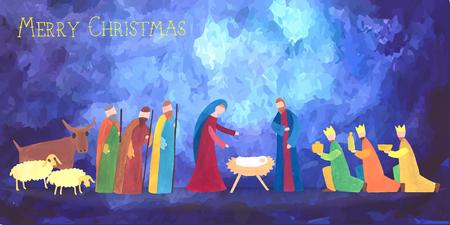 wise men: Hand drawn vector illustration with nativity scene. Baby jesus born in Bethlehem.