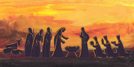 キリスト降誕のシーンでベクトル イラスト。赤ちゃんイエスは、ベツレヘムで生まれた。