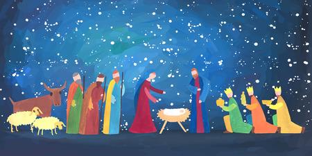 Doğum sahnesi ile elle çizilmiş vektör çizim. Bethlehem doğumlu Bebek İsa.
