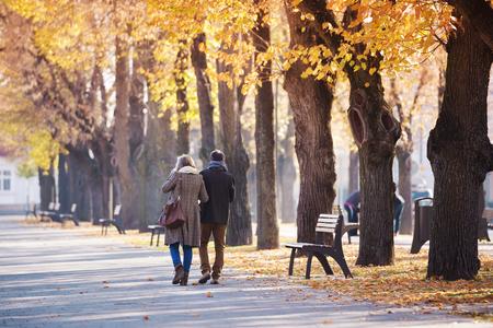 banc de parc: Les aînés actifs sur une promenade dans la ville d'automne