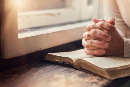 jezus: Ręce kobiety z nierozpoznawalny Biblia modląc