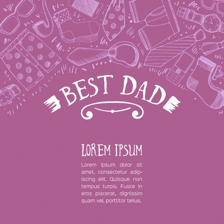 Beautiful Fathers day greeting with various objects.  Vector illustration. Illustration