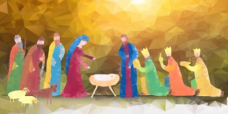 familia cristiana: Mano ilustración vectorial dibujado con escena de la natividad. Niño Jesús nacido en Belén.