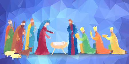 Hand drawn vector illustration with nativity scene. Baby jesus born in Bethlehem.