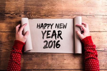 frohes neues jahr: Frohes neues Jahr Komposition. Studio Schuss auf Holzuntergrund.