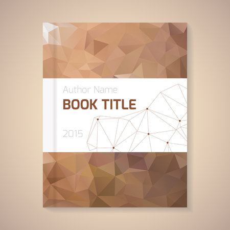 book style: Polygonal vector design template layout for book title