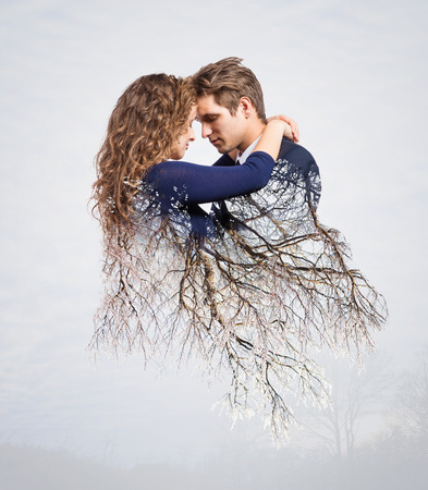 hair studio: Double exposure of beautiful young hipster couple Stock Photo