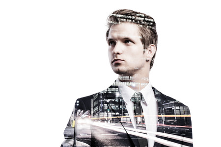 glamour luxury: Double exposure of young handsome businessman. Studio shot on white background.