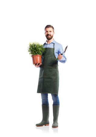 one man: Young handsome gardener in green apron. Studio shot on white background