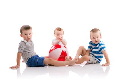 boy kid: Happy little boys. Studio shot on white background.