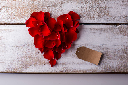 flower structure: Valentines day composition. Studio shot on white wooden background. Stock Photo