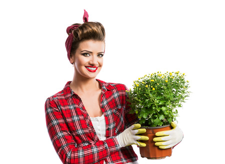 flower pot: Woman in red checked shirt with pin-up make-up and hairstyle holding flower pot with yellow daisies. Studio shot on white background
