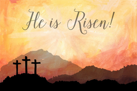 Akwarele ilustracji wektorowych. Ręcznie rysowane sceny Wielkanoc z krzyżem. Jezus Chrystus. Ukrzyżowanie.