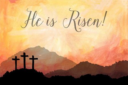 Aquarelle illustration vectorielle. Hand drawn scène de Pâques avec croix. Jésus Christ. Crucifixion.