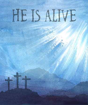 Watercolor vector illustration. Hand drawn Easter scene with cross. Jesus Christ. Crucifixion. Stok Fotoğraf - 52163007