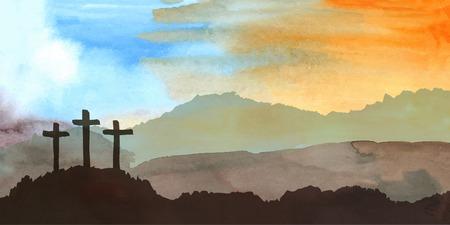 Illustrazione vettoriale ad acquerello Disegnata a mano scena di Pasqua con croce. Gesù Cristo. Crocifissione.