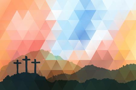 Disegno vettoriale poligonale. Disegnata a mano scena di Pasqua con croce. Gesù Cristo. Crocifissione. Illustrazione dell'acquerello di vettore