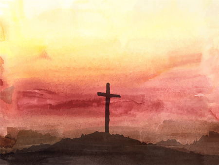 resurrected: Watercolor vector illustration. Hand drawn Easter scene with cross. Jesus Christ. Crucifixion.