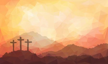 pasqua cristiana: illustrazione vettoriale Acquerello. Disegnata a mano scena di Pasqua con la croce. Ges� Cristo. Crocifissione.