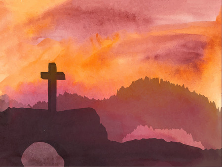 christianity: Watercolor vector illustration. Hand drawn Easter scene with cross. Jesus Christ. Crucifixion.
