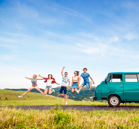 Young hipster friends on road trip on a summers day Zdjęcie Seryjne
