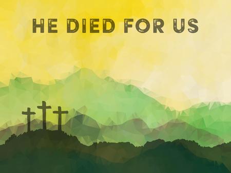 Polygonal vector ontwerp. Hand getrokken scène van Pasen met kruis. Jezus Christus. Kruisiging. Vector aquarel illustratie. Stock Illustratie