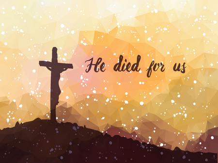illustrazione vettoriale Acquerello. Disegnata a mano scena di Pasqua con la croce. Gesù Cristo. Crocifissione. Vettoriali