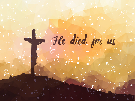 Ilustración vectorial de la acuarela. Dibujado a mano escena de Pascua con la cruz. Jesucristo. Crucifixión. Foto de archivo - 53143146