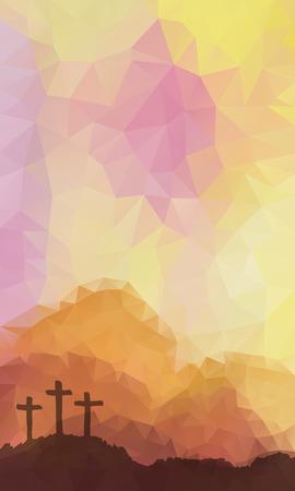 pasqua cristiana: disegno vettoriale poligonale. Disegnata a mano scena di Pasqua con la croce. Ges� Cristo. Crocifissione. Vector acquerello illustrazione. Vettoriali