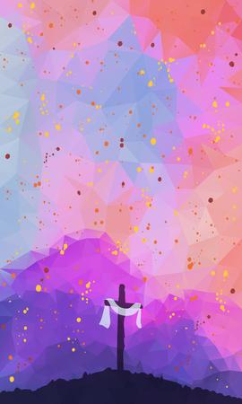 水彩ベクトル イラスト。手には、クロスとイースターのシーンが描かれました。まあ。はりつけ。