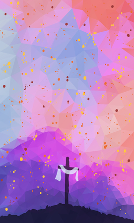 christians: Watercolor vector illustration. Hand drawn Easter scene with cross. Jesus Christ. Crucifixion.