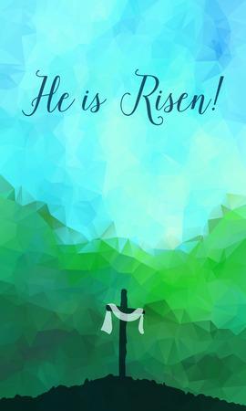 illustrazione vettoriale Acquerello. Disegnata a mano scena di Pasqua con la croce. Gesù Cristo. Crocifissione.