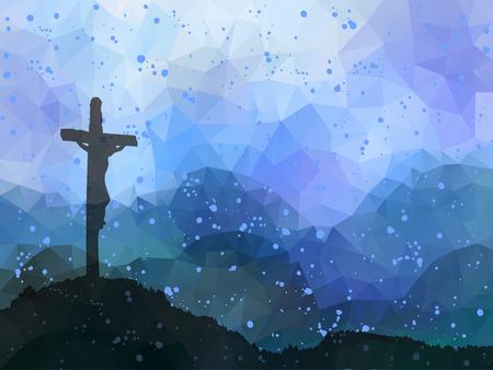 Watercolor vector illustratie. Hand getrokken scène van Pasen met kruis. Jezus Christus. Kruisiging. Stockfoto - 53143149