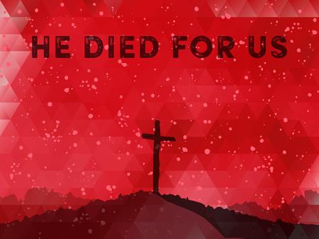 pasqua cristiana: illustrazione vettoriale Acquerello. Disegnata a mano scena di Pasqua con la croce. Gesù Cristo. Crocifissione.