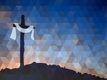 ilustra��o vetorial Aquarela. Desenho Cena de Easter com cruz. Jesus Cristo. Crucifica��o. Ilustração