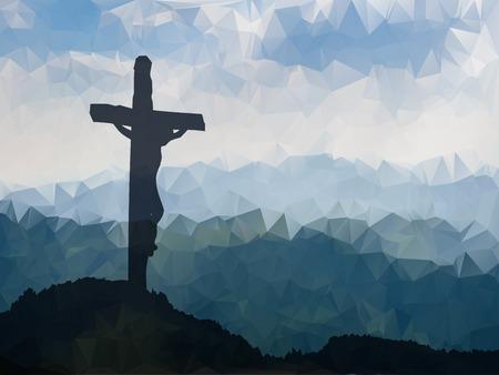 Watercolor vector illustratie. Hand getrokken scène van Pasen met kruis. Jezus Christus. Kruisiging. Stockfoto - 53143229