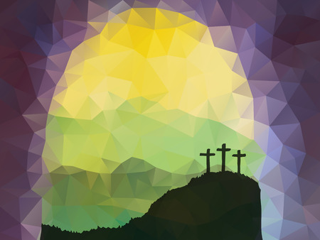 christianity: Polygonal vector design. Hand drawn Easter scene with cross. Jesus Christ. Crucifixion. Vector watercolor illustration.