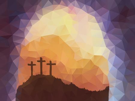 다각형 벡터 디자인. 손 크로스 부활절 장면을 그려. 예수 그리스도. 큰 시련. 벡터 수채화 그림.