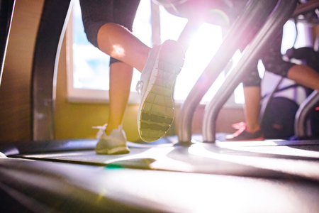 Close up of legs of two women running on treadmills in a gym, sunny day
