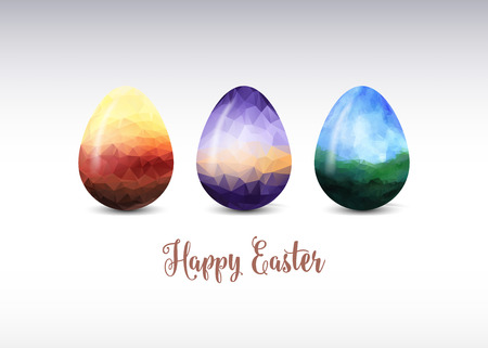 egg: Colorful Easter egg greeting.  Polygonal vector design. Triangular low poly origami style graphic illustration,mosaic style. Illustration
