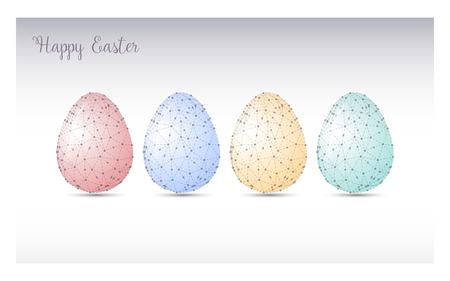 felicitación colorida del huevo de Pascua. vector de diseño poligonal. Triangular ilustración gráfica del estilo de Origami poli baja, estilo mosaico. Ilustración de vector