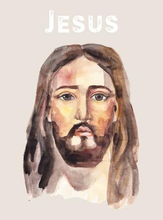 Hand getrokken gezicht van Jezus Christus, laag poly aquarel vector illustratie. Pasen. Ressurection.