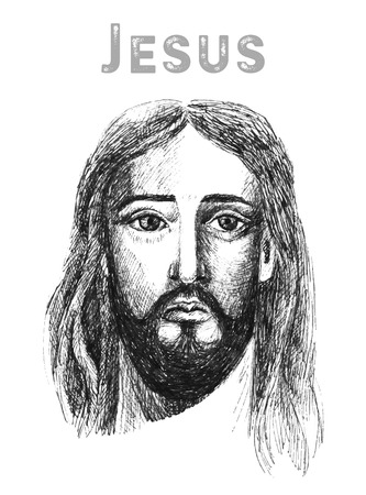 in low spirits: Hand drawn face of Jesus Christ, low poly watercolor vector illustration. Easter. Ressurection.